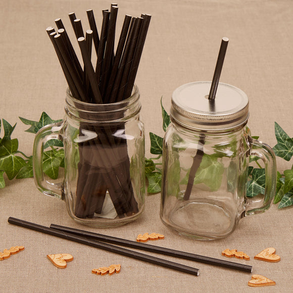 Wholesale Black Paper Straws - 25 Pack