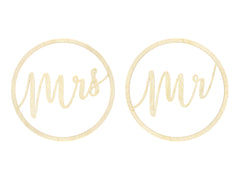 Wooden Mr and Mrs Hanging Decoration