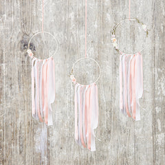 White And Pink Dream Catcher Hanging Decoration Pack