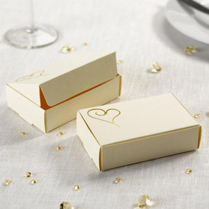 Ivory and Gold Heart Cake Boxes (10 Per Pack)