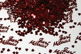 Just Married Burgundy Table Confetti