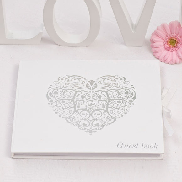 Silver / White 'Vintage' Guest Book