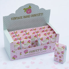 Pink / White 'Vintage Rose' Tissue Paper Confetti (20 Cartons)