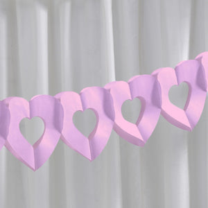 'Frills and Spills' Pink Heart Tissue Garland