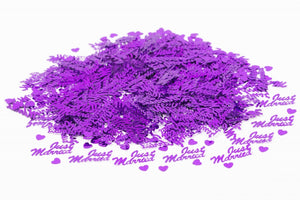 Just Married Purple Table Confetti