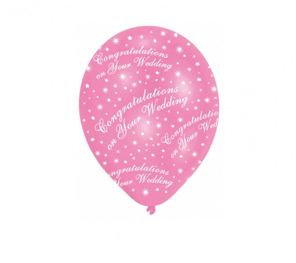 'Wedding Congratulations' Pink / White Balloons