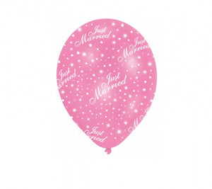 'Just Married' Pink / White Balloons