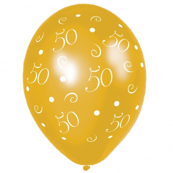 Metallic 50th Anniversary Anagram Gold Balloons (25 Pack)