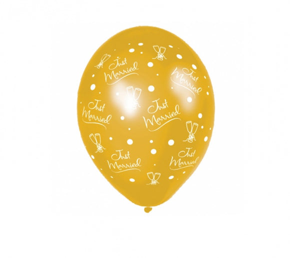 Metallic 'Just Married Modern' Anagram Gold Balloons (25 Pack)