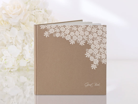 Rustic Kraft / Flowers Guest Book
