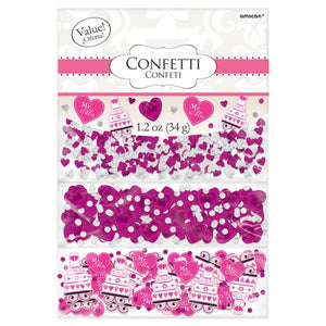 Hot Pink 'Mr and Mrs' Hearts / Cakes Table Confetti Triple Pack