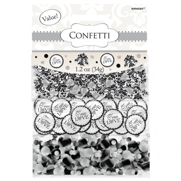 Black / White 'Love' Swirls / Scroll Table Confetti Triple Pack