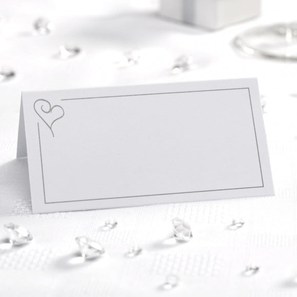 White with Silver Heart Place Cards