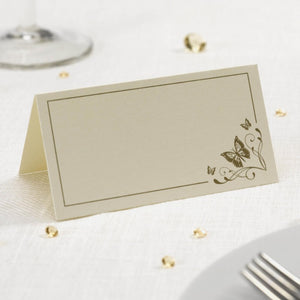 Ivory and Gold Butterfly Place Cards 50pk