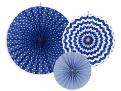 Hanging Rosette / Fan Decorations - Navy Blue 3pk