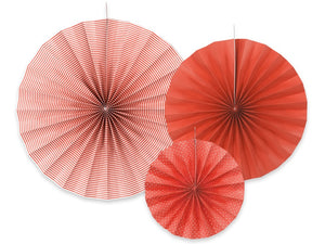 Hanging Rosette / Fan Decorations - Red 3pk