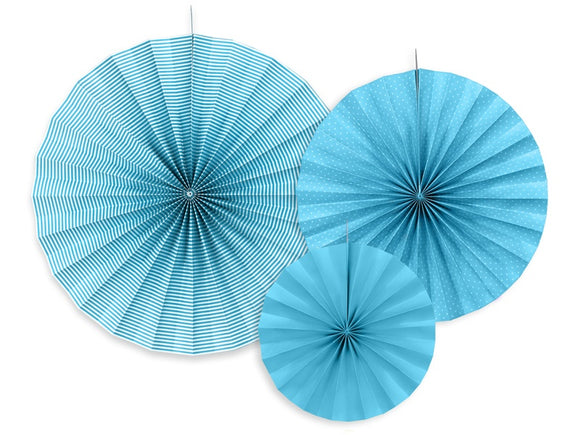 Hanging Rosette / Fan Decorations - Blue 3pk