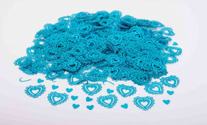 Turquoise Vintage Hearts Table Confetti