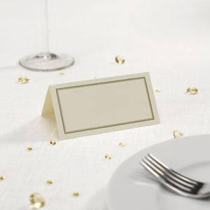 Gold Border Ivory Place Cards - 50 Pack