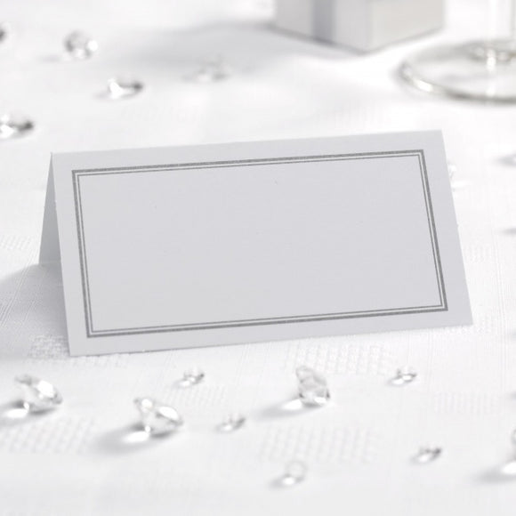 Silver Border White Place Cards - 50 Pack