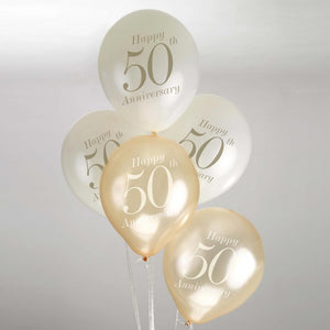 Ivory / Gold 50th Anniversary Balloons - 8 Pack