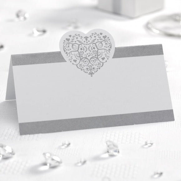 White And Silver 'Vintage Romance' Place Cards - 50 Pack