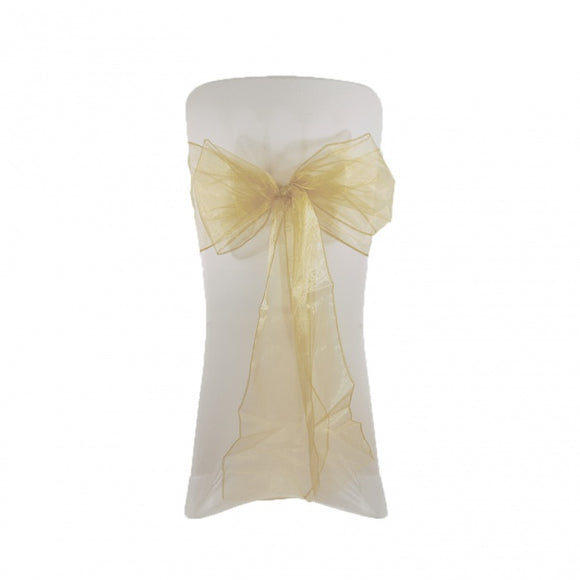 Organza Chair Sash - Gold