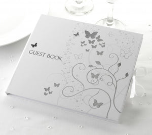 Silver / White Butterfly Guest Book