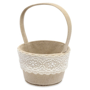 Linen with Lace Ribbon Flower Basket