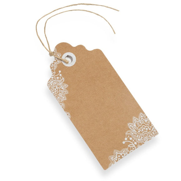 Kraft with White Lace Print Luggage Tag - (10 Pack)