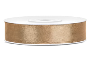Light Gold Double Sided Satin Ribbon (12mm / 25m)