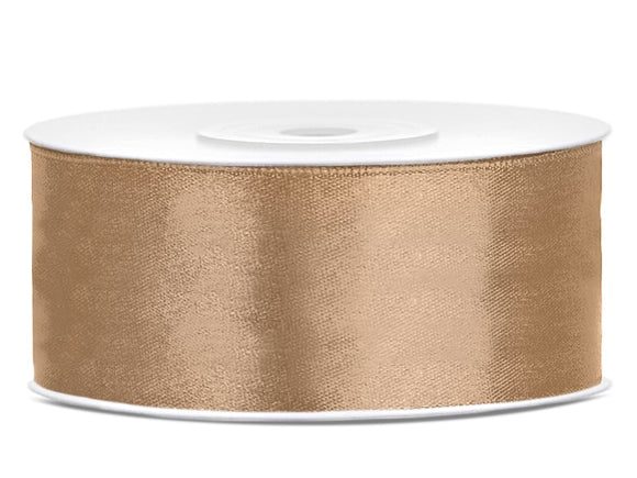Light Gold Double Sided Satin Ribbon (25mm / 25m)