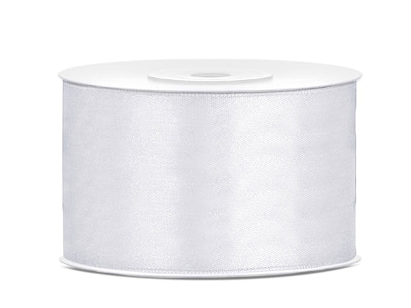 White Double Sided Satin Ribbon (38mm / 25m)