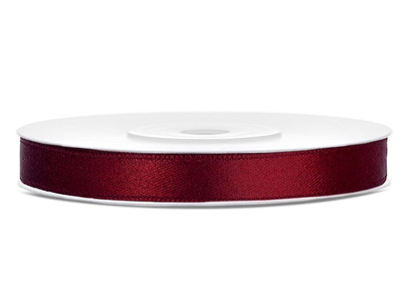 Deep Red Double Sided Satin Ribbon (6mm / 25m)