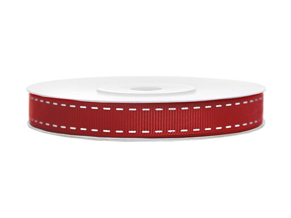 Red Grosgrain Ribbon With Printed Stitch (15mm / 25m)