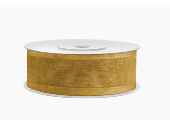 Gold Chiffon Ribbon With Satin Edge (25mm / 25m)