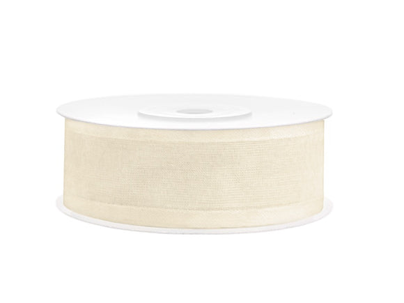 Light Cream Chiffon Ribbon With Satin Edge (25mm / 25m)