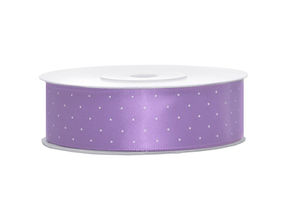 Lavender / White Spotty Satin Ribbon (25mm / 25m)