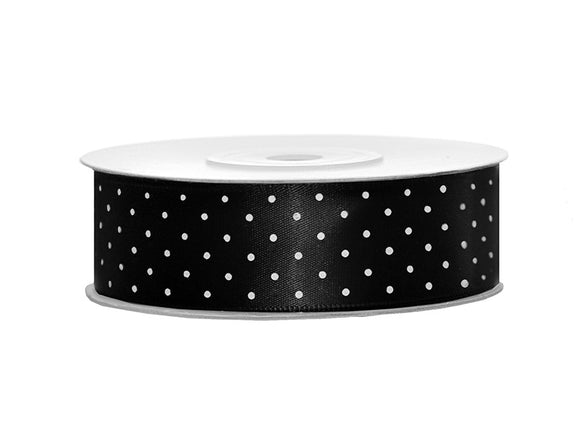 Black / White Spotty Satin Ribbon (25mm / 25m)