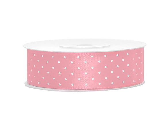 Light Pink / White Spotty Satin Ribbon (25mm / 25m)