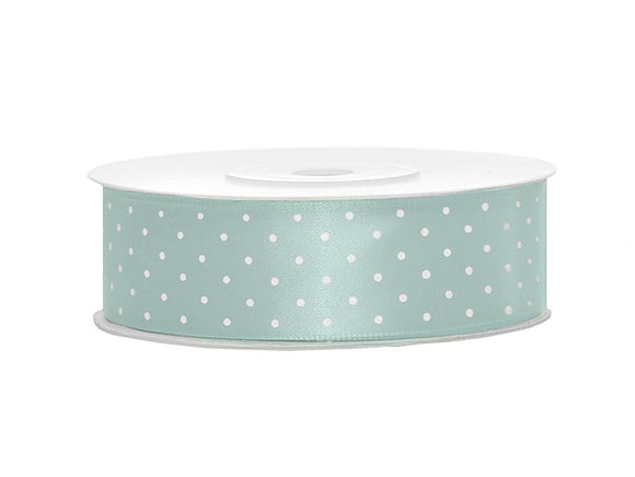 Mint Green / White Spotty Satin Ribbon (25mm / 25m)