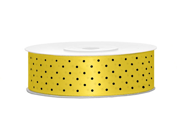 Yellow / Black Spotty Satin Ribbon (25mm / 25m)