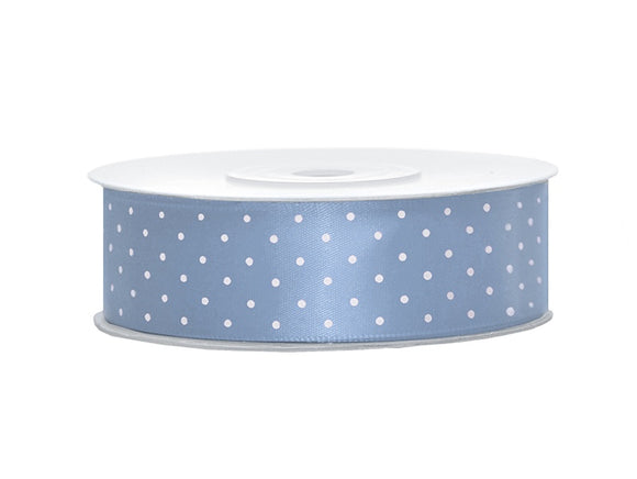 Grey Blue / White Spotty Satin Ribbon (25mm / 25m)