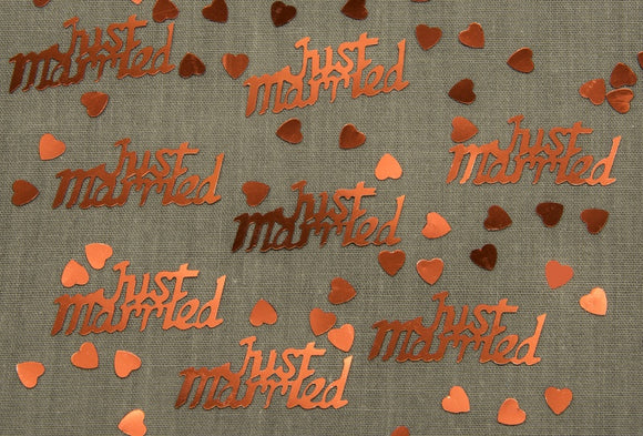 Just Married Ruby Red Table Confetti