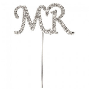 Diamante 'Mr' Cake Pick Silver