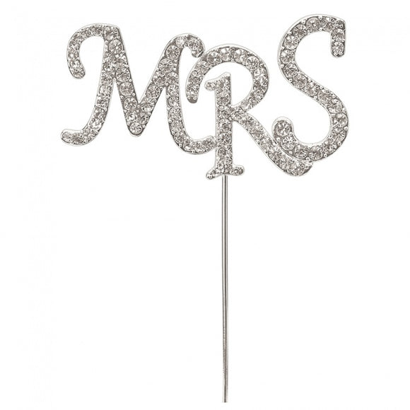 Diamante 'Mrs' Cake Pick Silver