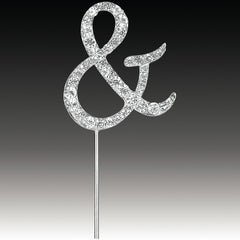 Diamante Ampersand / And Cake Pick Silver