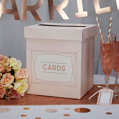 Geo Blush Wedding Card Posting Box