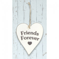 White Wooden Heart 'Friends Forever'