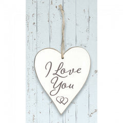 White Wooden Heart 'I Love You'